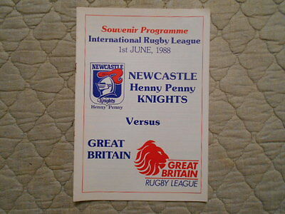 Newcastle V Great Britain Rugby League Match Programme 1988