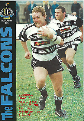 NEWCASTLE FALCONS RUGBY UNION v RICHMOND PROGRAMME 29 MARCH 1997 + TICKET