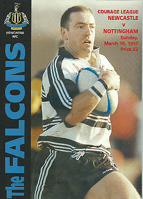 NEWCASTLE FALCONS RUGBY UNION v NOTTINGHAM PROGRAMME 16 MARCH 1997