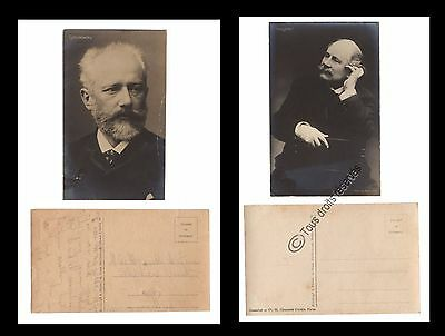 Lot De 2 Rares Photos Carte Tschaikowsky Et Jules Massenet Voir Scan