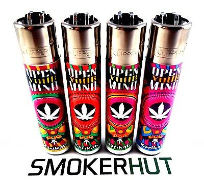 4 Clipper Lighters - OPEN YOUR MIND - Weed Leaf Ganja Rare Collection - x4 pcs