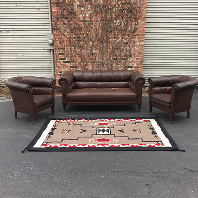 1920s Leather Club Chairs and Matching Sofa Loveseat, Distressed Furniture