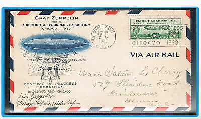 1933 Zeppelin  FDC Cover,very good, Dispatched f Chicago 2.OKT.1933
