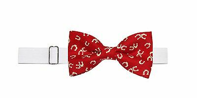 Boys (6 -11 Yrs) Horseshoes Pre Tied Cotton Bow Tie on Elastic Neckband