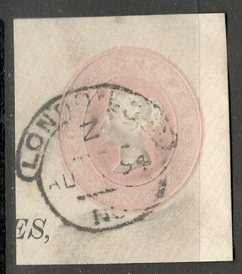 Queen Victoria - 1d Pink Embossed - Good Cancel - On a Piece