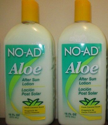 (2) NO-AD noad Aloe After Sun Lotion coconut scent 16 oz / 475 ml