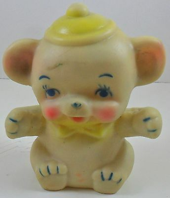 "Vintage Bear Rubber Squeak Toy Yellow Hat 6"" Unmarked Squeaker"
