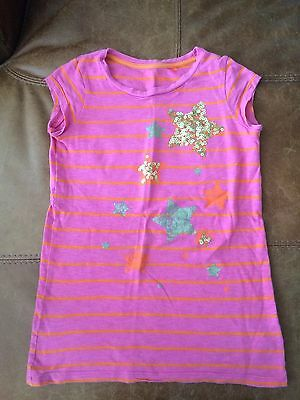 Next Girls Pink Stripe T-shirt With Sequin Stars On Front, Age 7 Years, Used