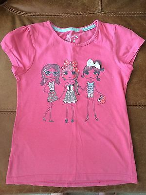 Girls T-shirt With Graphic On Front & Back, Age 6-7 Years, Used