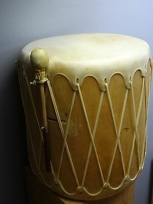 Taos New Mexico NM Hand Made Native American Leather Rawhide Wooden Drum