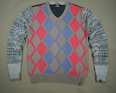Men's RARE LambsWool Sweater Size L Brown Blue Pink Long Sleeve Made in Italy