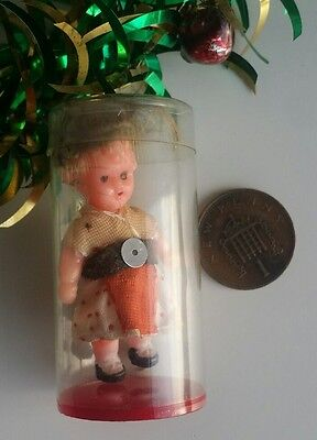 Old tiny dolls house doll vintage ornament boxed