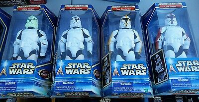 """Star Wars 12"""" AOTC 4 Clone/Storm Troopers/Commander, 2 wte, red, Yellow 2002"""