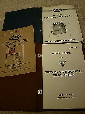 Assortment of service manuals lister cav aec all old but fair condition