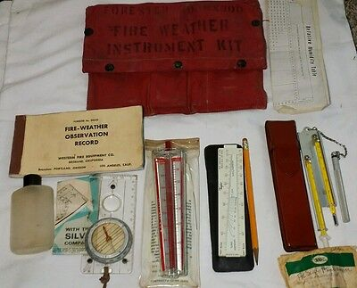 Vtg Military Fire Weather instrument rescue Kit compass slide rule fireman RARE