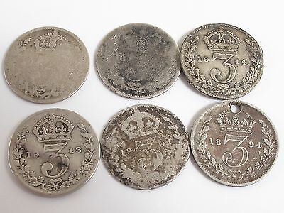 ANTIQUE VICTORIAN & EARLY 1900s THREEPENCE COINS 6X CIRCULATED