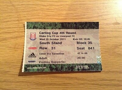 Stoke City v Liverpool - 26.10.11 Carling Cup Round 4 Ticket Stub