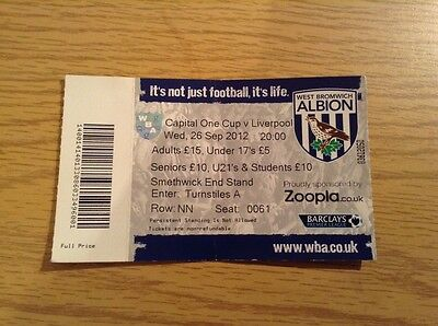 West Bromwich Albion v Liverpool - 26.9.12 Capital One Cup Round 3 Ticket Stub