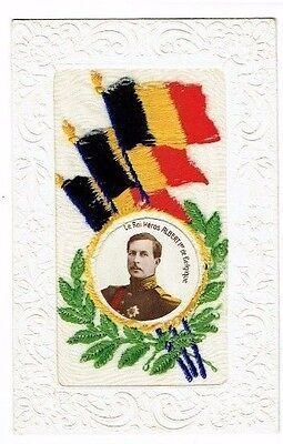 Ww1 Embroidered Silk Postcard Belgian Flags & Albert Of Belgium Photo Insert