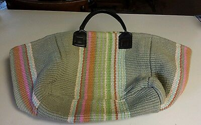 Dash & Albert Rug Company -  Handwoven Multicolor Bag Large Tote Leather Straps