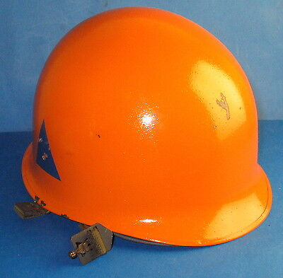 US type steel helmet from the danish civilian defense orange with blue triangle