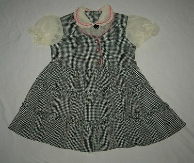 Cute Dressy Vintage Little Girls Black & Blue Checkered Dress Pink Piping