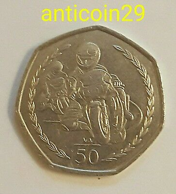 1997 Fifty Pence Coin Isle of Man Motor Cyclist