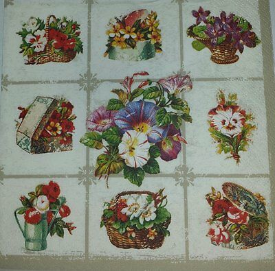 4 x single PAPER NAPKIN- COLORFUL FLOWER- DECOUPAGE AND CRAFTING-15