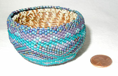 PAIUTE BEADED BASKET Turquoise Purple Lavender Blue *Small Size Beads 2.5 by 1.5