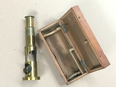 Antique Brass Field Microscope with Wooden Box