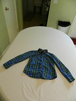 Justice Girls Cute Button Up Long Sleeve Shirt Size 6