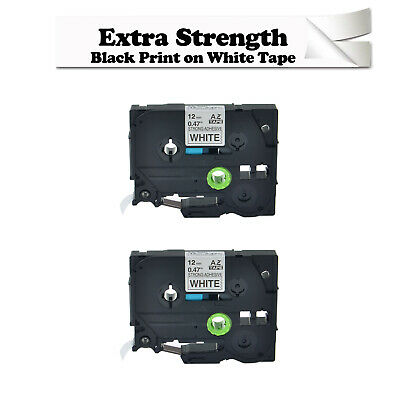 2 Pack Label Tape TZ TZe-S231 Extra Strength Black on White for Brother P-touch