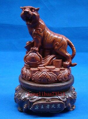 Antique Handmade Carving  wood Statue Tiger Art Deco