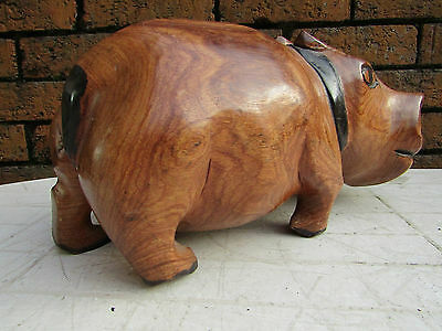 Vintage hand carved African/ Asian wood Hippo sculpture