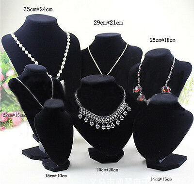Velvet Necklace Pendant Chain Jewelry Bust Display Holder Stand Brand bos