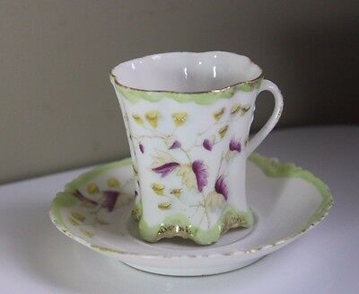 Antique Lime Green, Purple, White & Gold Gilt  Porcelain Demitasse Cup & Saucer