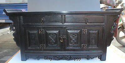 "23"" Chinese Ebony Black Wood Ancient Treasure Box Case Table Desk Cabinet Statue"