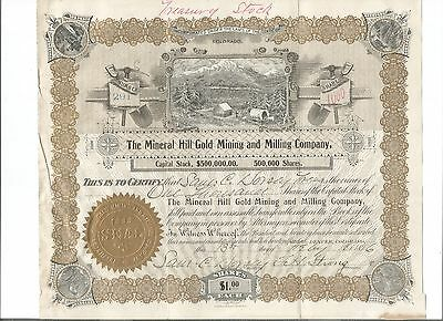 THE MINERAL HILL GOLD MINING AND MILLING COMPANY Stock 1896