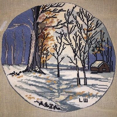 """VTG Finished Embroidery Cabin Snow Trees Landscape Woods Winter Round 12"""""""