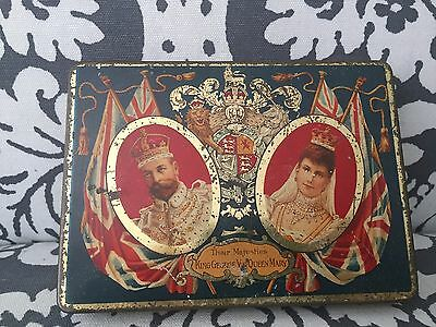 Antique 1912 J.S. Fry England Chocolate Tin King George V & Queen Mary