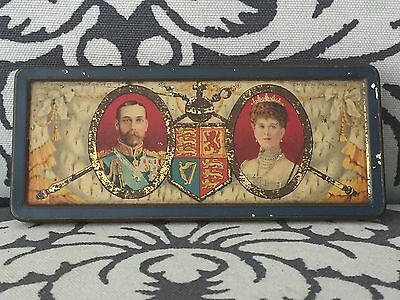 Antique 1911 England Rowntree Chocolate Tin King George V Queen Mary Coronation