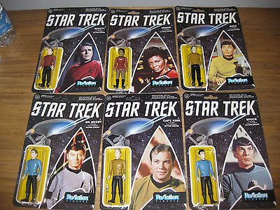 Funko Star Trek Reaction Series Lot Of 6 Kirk Scotty Spock Mccoy Sulu Uhura