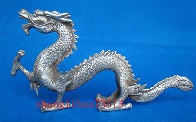 """13"""" Antique Collectible Handmade Copper Silver Statue Dragon Chinese Art Deco"""