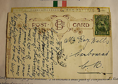 1910 NEWFOUNDLAND RAILWAY SALMON COVE  FROM TO CARBONEAR TPO POST CARD lot10