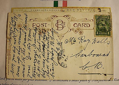 1910 Newfoundland Railway Salmon Cove  From To Carbonear Tpo Post Card