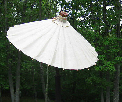 "Lamp Shade Clip-on Large Rice Paper Linen 20"" Inch Parasol Umbrella"