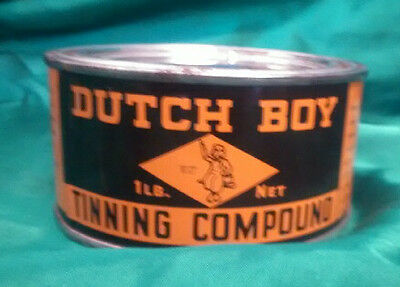 Vintage one pound container Dutch Boy Tinning compound custom sled  lead work