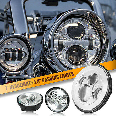 """7"""" Chrome LED Projector Daymaker Headlight & Passing Lights Fit Harley Touring"""
