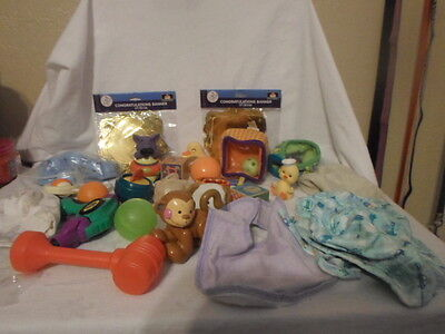 Lot of 36 Assorted Baby Boy Items; Toys, Hats,Shower Items & More..............