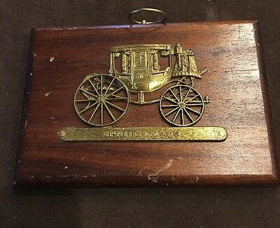 Vintage Wooden Plaque with Brass Horse Carriage Made in Japan Wall Picture